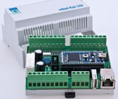 mbed for industrial use with 24V-I/O DIN rail module