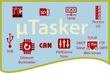 µTasker for Ethernet, USB, I2C, RS232 and Process I/O